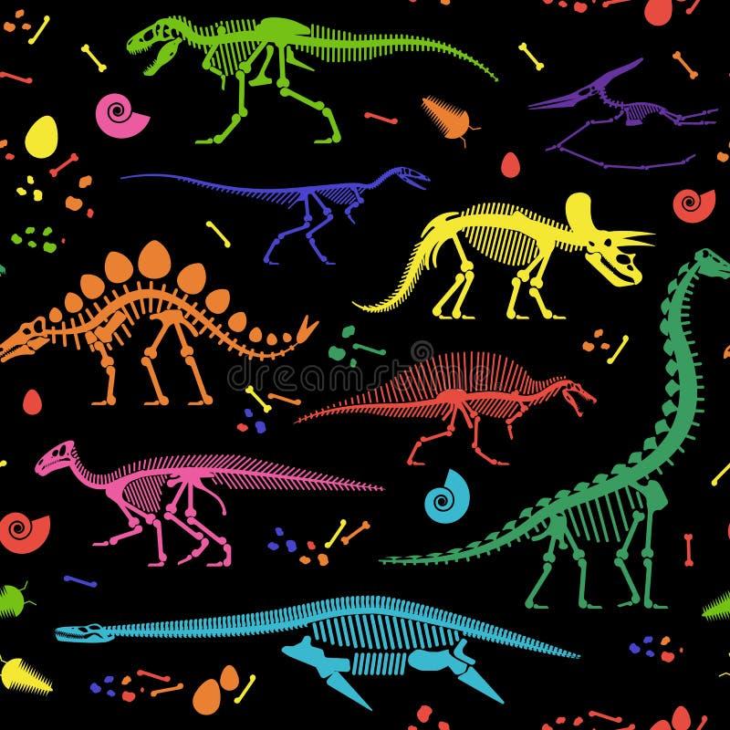 Les fossiles de dinosaure, oeufs, désosse des squelettes illustration stock