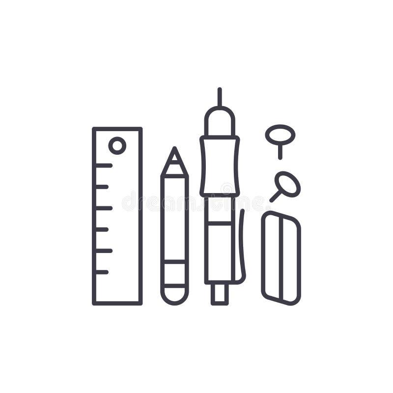 Les fournitures de bureau rayent le concept d'icône Les fournitures de bureau dirigent l'illustration linéaire, symbole, signe illustration stock
