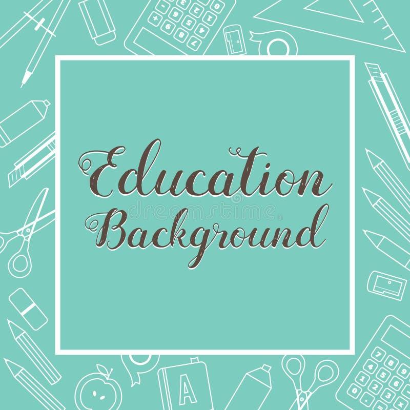 Les fournitures scolaires d'éducation ont rayé le fond de vert de bannière de place de substance d'icône illustration de vecteur