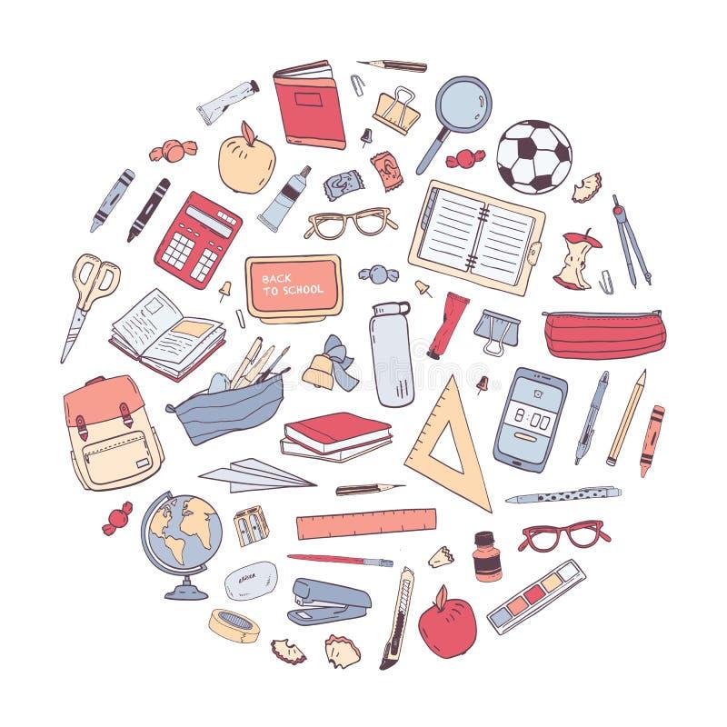 Les fournitures scolaires ont arrangé dans le cercle Composition ronde avec la papeterie pour l'éducation d'isolement sur le fond illustration libre de droits