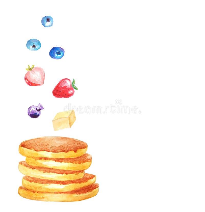Les fraises, les myrtilles et le beurre volants de petit déjeuner sont vol sur une pile des crêpes Le calibre pour le menu, la de illustration libre de droits