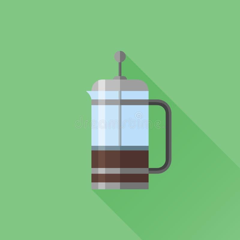 Les Français pressent l'icône plate avec la longue ombre Générateur de café illustration de vecteur