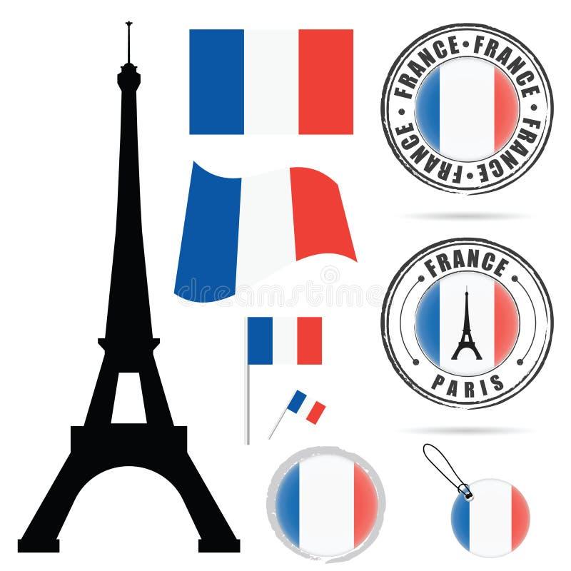Les Frances marquent l'ensemble avec l'illustration de conception d'Eiffel de visite dans coloré illustration de vecteur