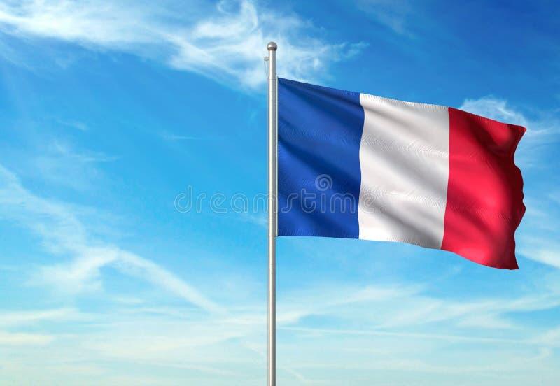 Les Frances marquent l'ondulation avec le ciel sur l'illustration 3d réaliste de fond illustration libre de droits