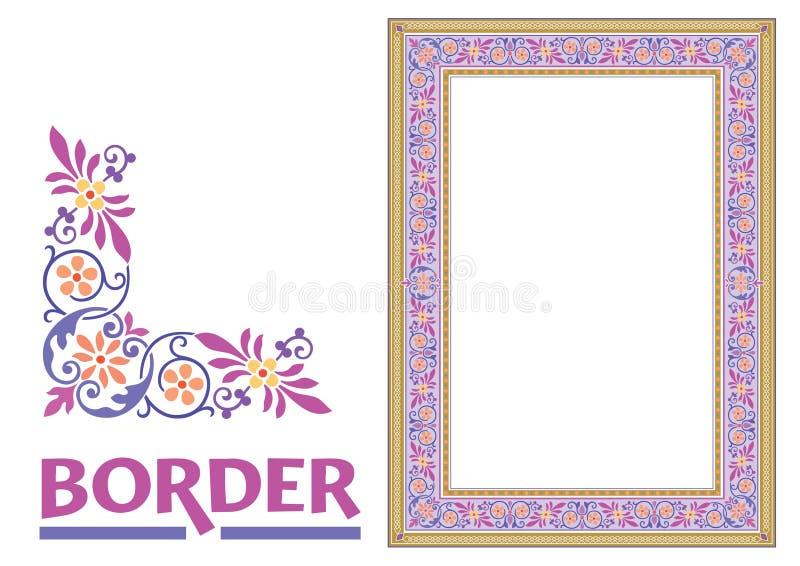 Les frontières de Vieux Monde dirigent - le cadre carrelé dans le style élégant décoratif de cadre de feuilles et de fleurs d'usi photos stock