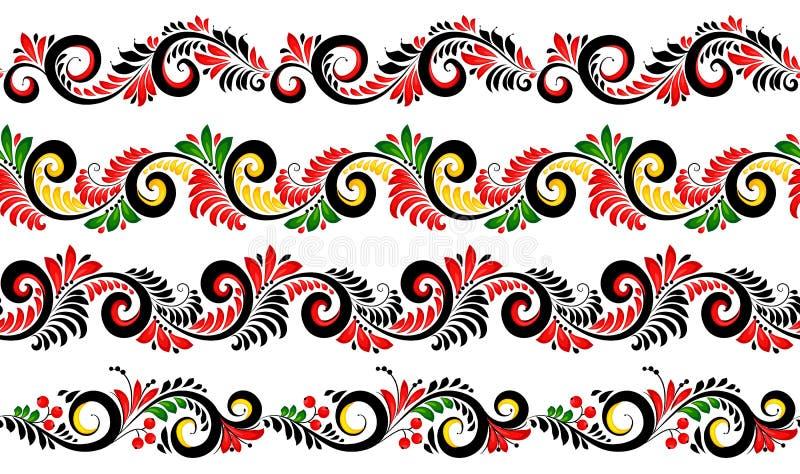 Les frontières fleuries de couleurs noires et rouges ont placé dans le style russe de khokhloma illustration de vecteur