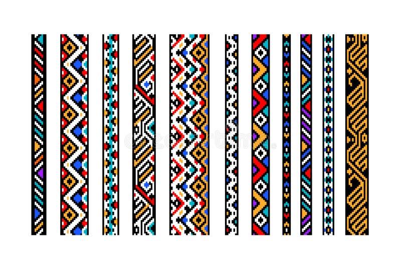 Les frontières sans couture aztèques géométriques ethniques colorées placent, dirigent illustration de vecteur