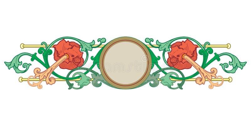 Les fronti?res de Vieux Monde dirigent - le cadre carrel? dans le style ?l?gant d?coratif de cadre de feuilles et de fleurs d'usi illustration stock
