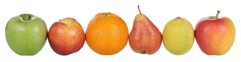 Les fruits aiment l'orange, le citron, la pêche, la poire et les pommes d'isolement sur le wh images libres de droits