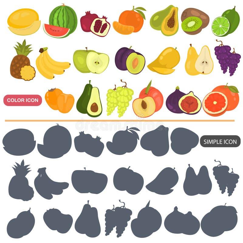 Les fruits colorent les icônes plates et simples réglées pour le Web et la conception mobile illustration libre de droits