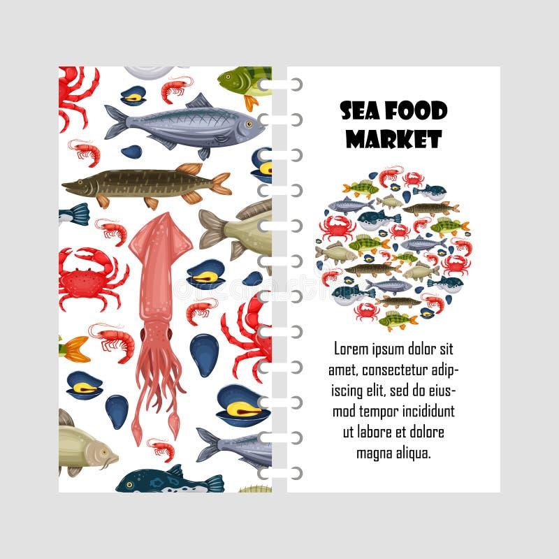 Les fruits de mer de calibre de vecteur ont placé avec le crabe, les poissons, la moule et la crevette d'isolement sur le fond bl illustration de vecteur