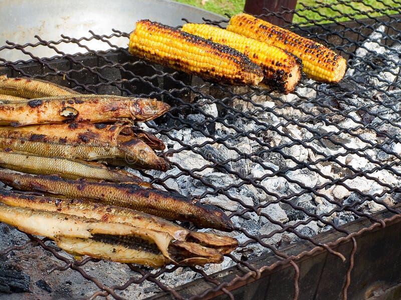 Les fruits de mer frits délicieux appétissants, le fishand, maïs sur un barbecue grillent dehors photographie stock libre de droits