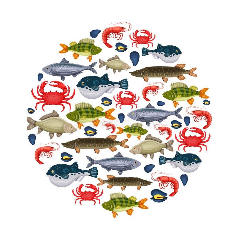 Les fruits de mer ont placé avec le crabe, poisson, la moule, crevette en cercle Conception pour le menu de restaurant, marché Cr illustration de vecteur