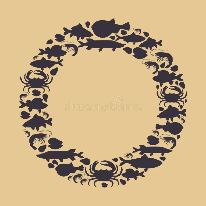 Les fruits de mer ont placé avec le crabe de silhouette, poisson, la moule, crevette en cercle Conception pour le menu de restaur illustration de vecteur