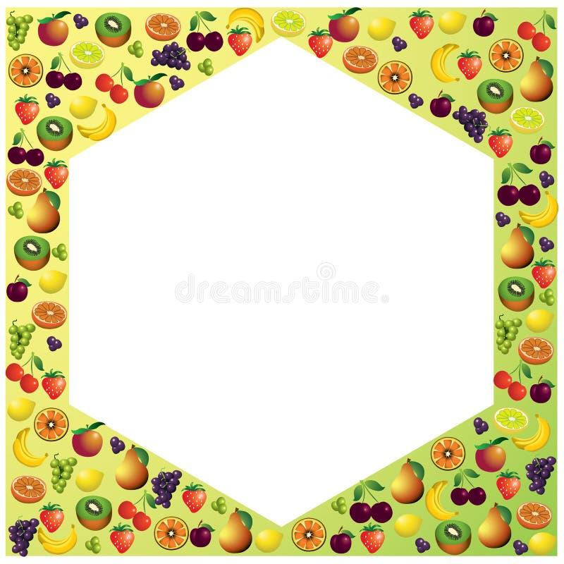 Les fruits encadrent fait avec différents fruits, nourriture saine illustration libre de droits