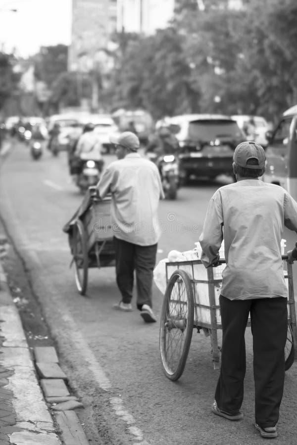 Les fruits et légumes du vendeur poussent le chariot sur le chemin de la maison après avoir terminé le travail image libre de droits