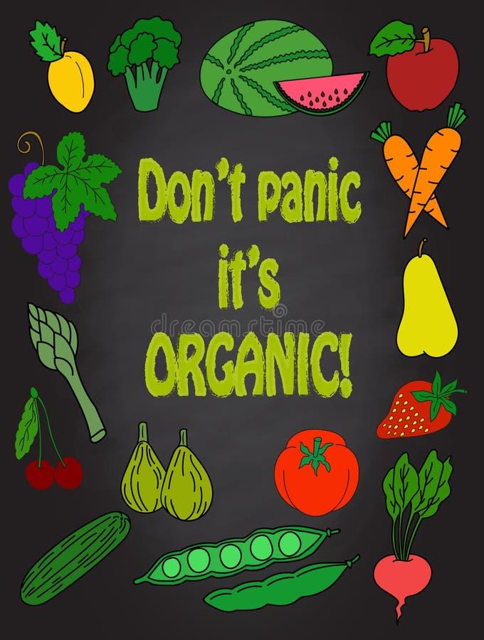 Les fruits et légumes sains d'art drôle de cuisine dirigent les icônes créatives de fruit d'affiche de nourriture de décor tiré p illustration de vecteur