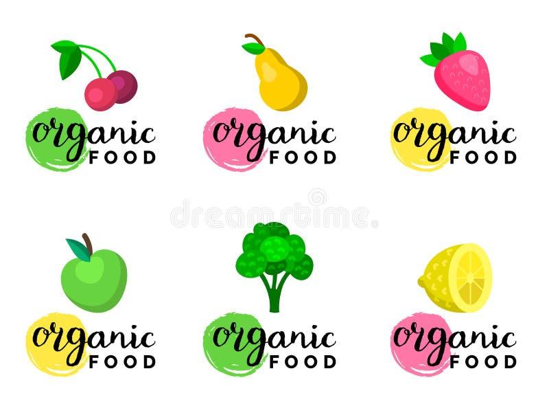 Les fruits et les baies dirigent l'illustration dans le style plat pour des logos de nourriture d'eco, signes de produits biologi illustration libre de droits