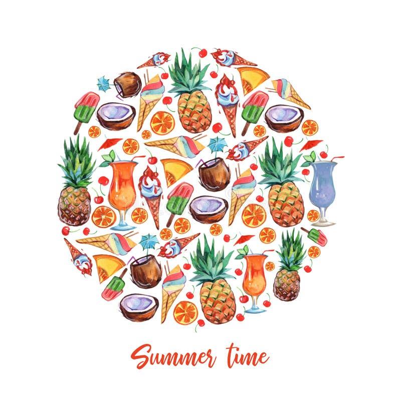 Les fruits exotiques entourent dans le style d'aquarelle sur le fond blanc Conception de nourriture de fruit Composition en anana illustration stock
