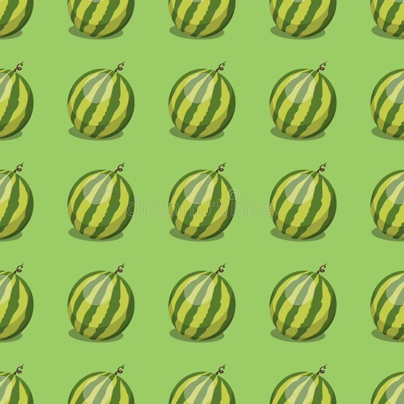 Les fruits frais de pastèque de bande dessinée en été sans couture de nourriture de modèle de style plat conçoivent l'illustratio illustration libre de droits