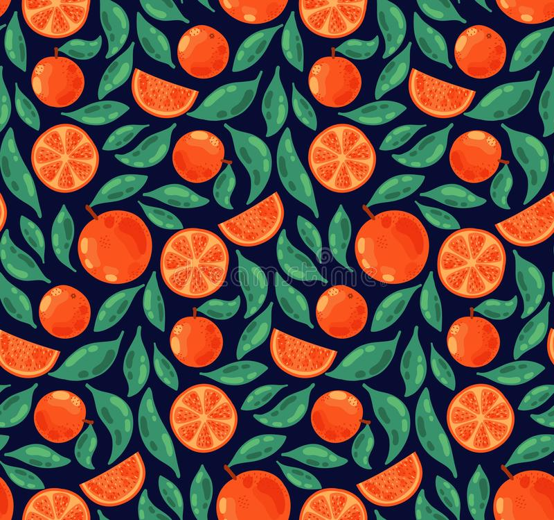 Les fruits oranges pousse des feuilles modèle sans couture illustration libre de droits