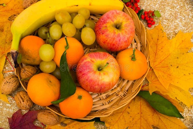 Les fruits sont dans le panier avec des raisins, pommes images libres de droits