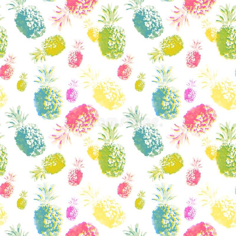 Les fruits tropicaux d'aquarelle, l'ananas peint à la main coloré et les kiwis avec la peinture éclabousse sur le fond de wite illustration libre de droits