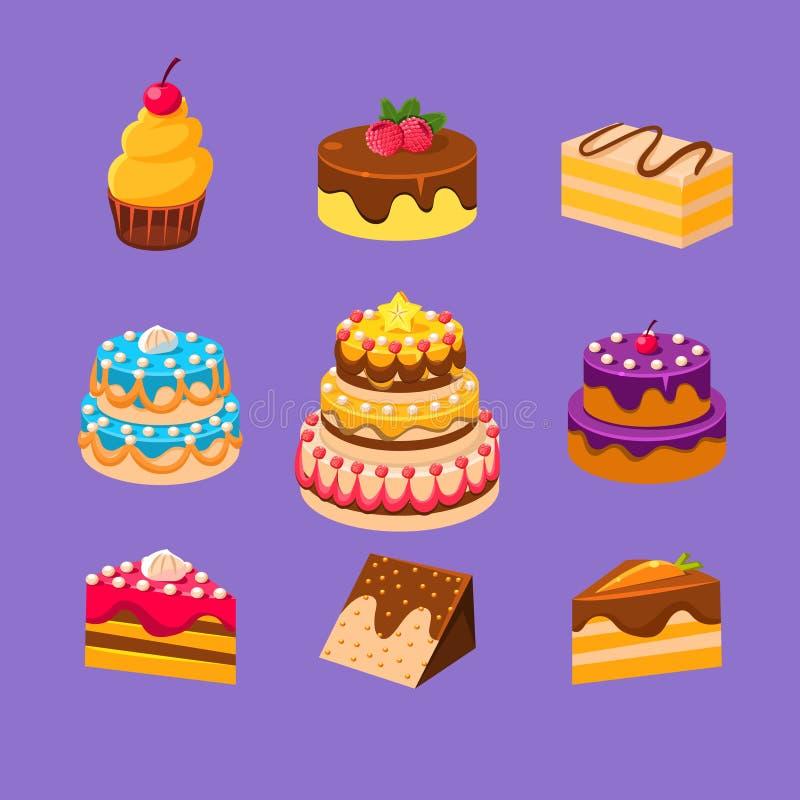 Les gâteaux et les desserts ont placé illustration libre de droits