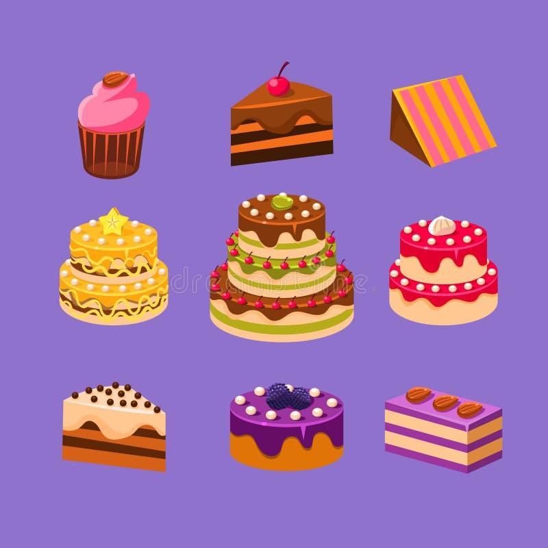 Les gâteaux et les desserts ont placé illustration stock