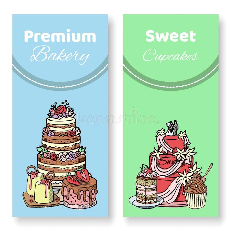 Les gâteaux et les petits gâteaux dirigent l'illustration Chocolat, napoléon, tiramisu, Sacher, eclair et gâteau au fromage D'iso illustration stock
