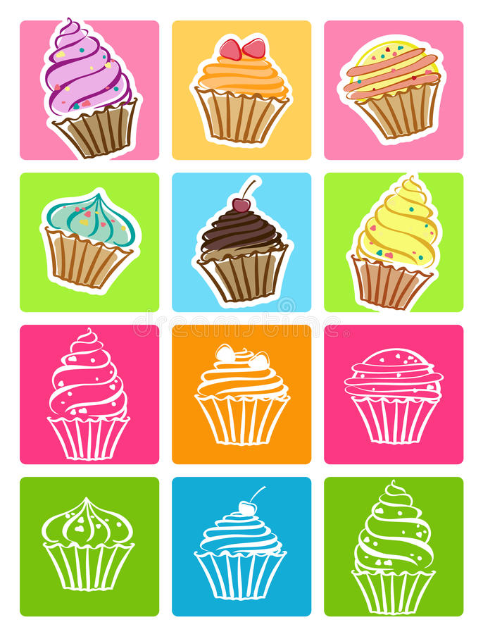 Les gâteaux ont placé des graphismes illustration de vecteur