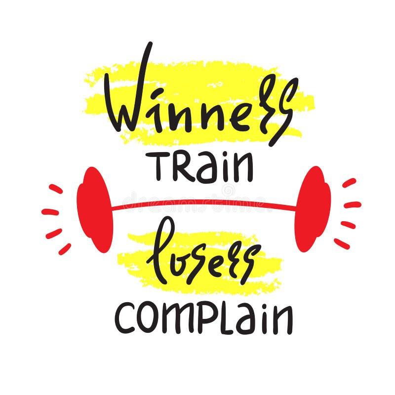 Les gagnants forment des perdants se plaignent - pour inspirer et citation de motivation Beau lettrage tiré par la main Copie pou illustration libre de droits