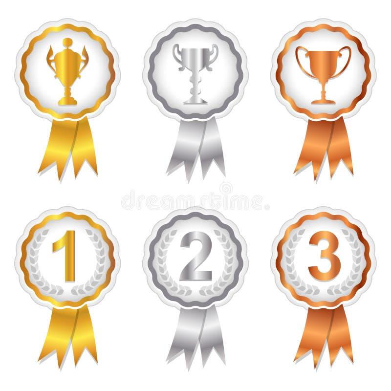 Les gagnants ont placé 1 - des rosettes d'or, d'argent et de bronze illustration libre de droits