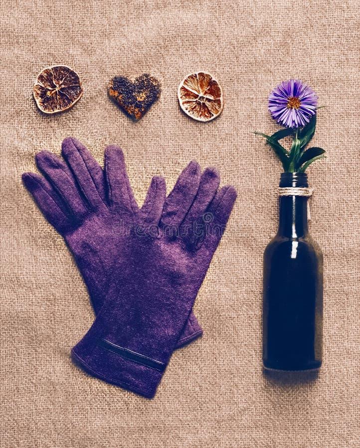 Les gants des femmes avec des souvenirs sur la toile photos stock