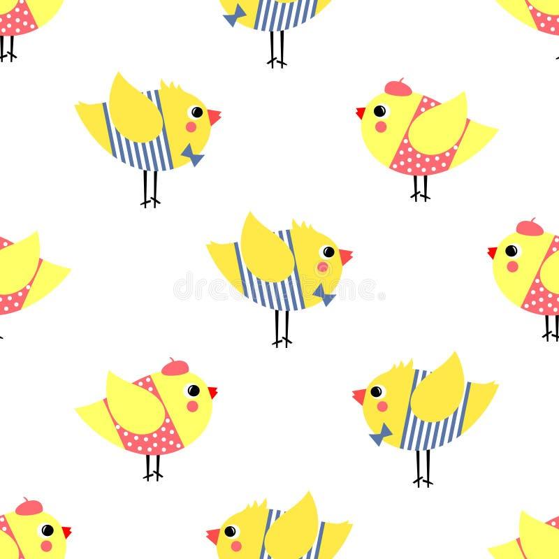 Les garçons de bande dessinée et les oiseaux mignons de filles dirigent l'illustration illustration de vecteur