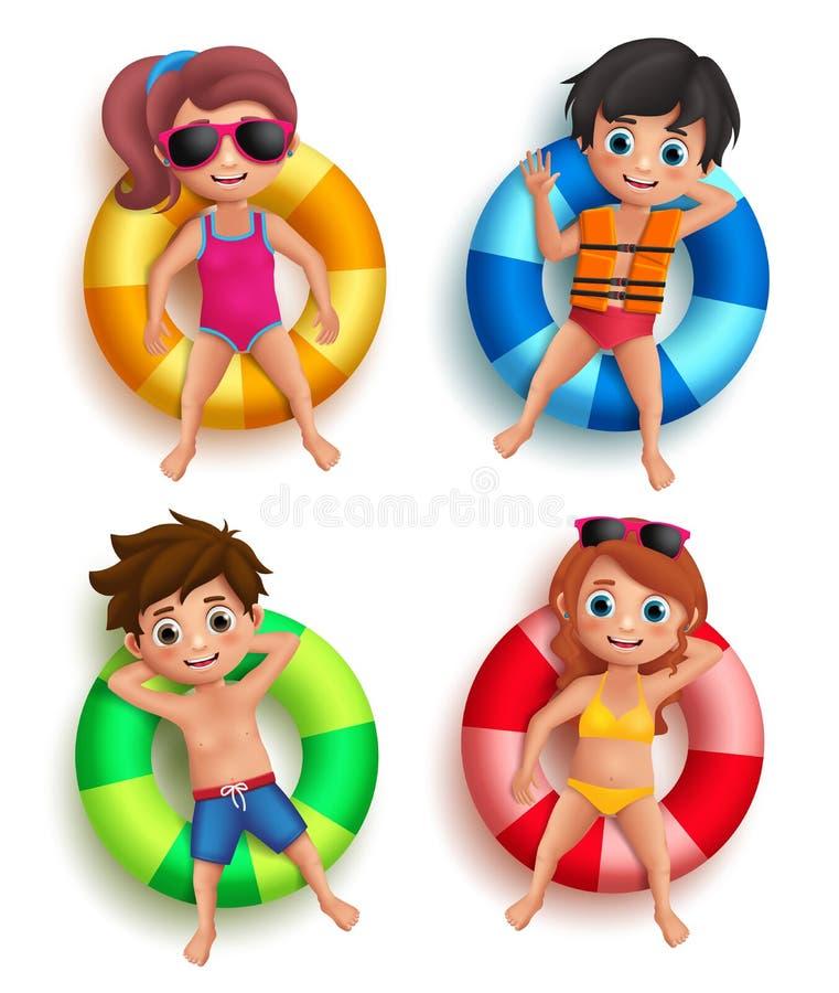 Les garçons et les enfants de filles dirigent des caractères flottant avec la bouée de sauvetage colorée illustration de vecteur