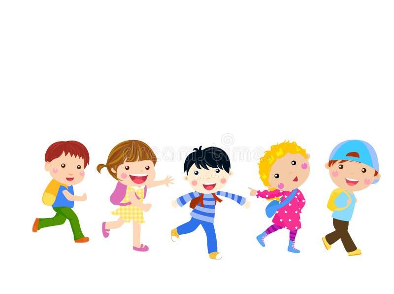 Les garçons et les filles vont à l'école illustration de vecteur