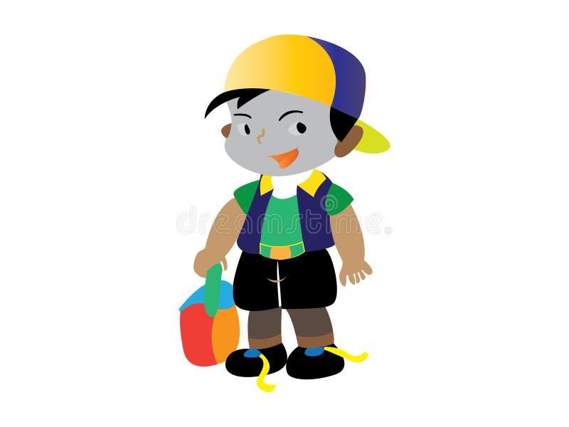 Les garçons portent des uniformes scolaires gaiement illustration de vecteur