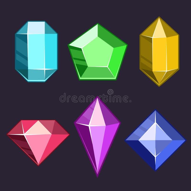 Les gemmes de vecteur de bande dessinée et les icônes de diamants ont placé dans différentes couleurs avec différentes formes illustration libre de droits