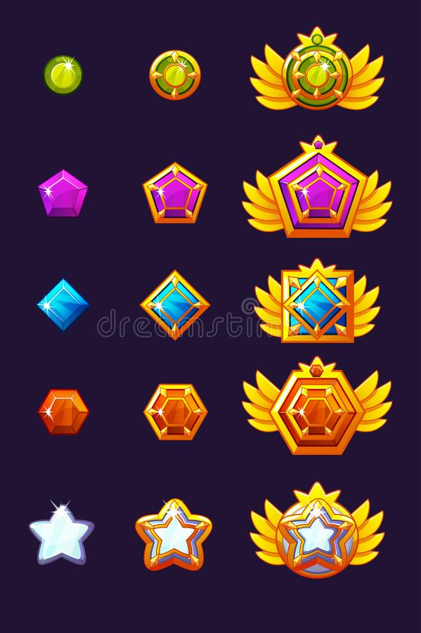 Les gemmes réglées attribuent le progrès Amulettes d'or réglées avec des bijoux Capitaux d'icônes de vecteur pour le concepteur d illustration libre de droits