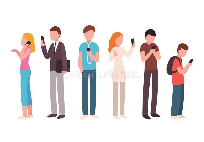 Les gens à l'aide des smartphones illustration libre de droits