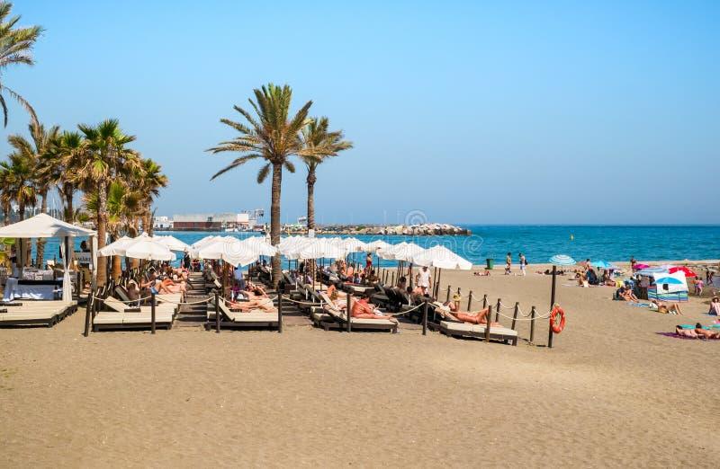 Les gens à la plage avec des palmiers sur le rivage de la mer Méditerranée photo libre de droits