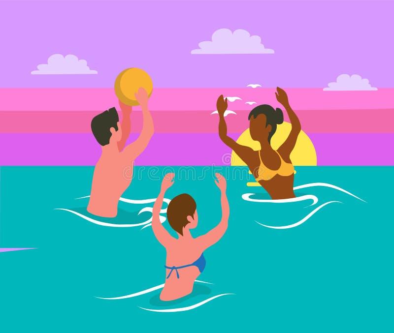 Les gens éclaboussant en mer, jouant le vecteur de volleyball illustration de vecteur