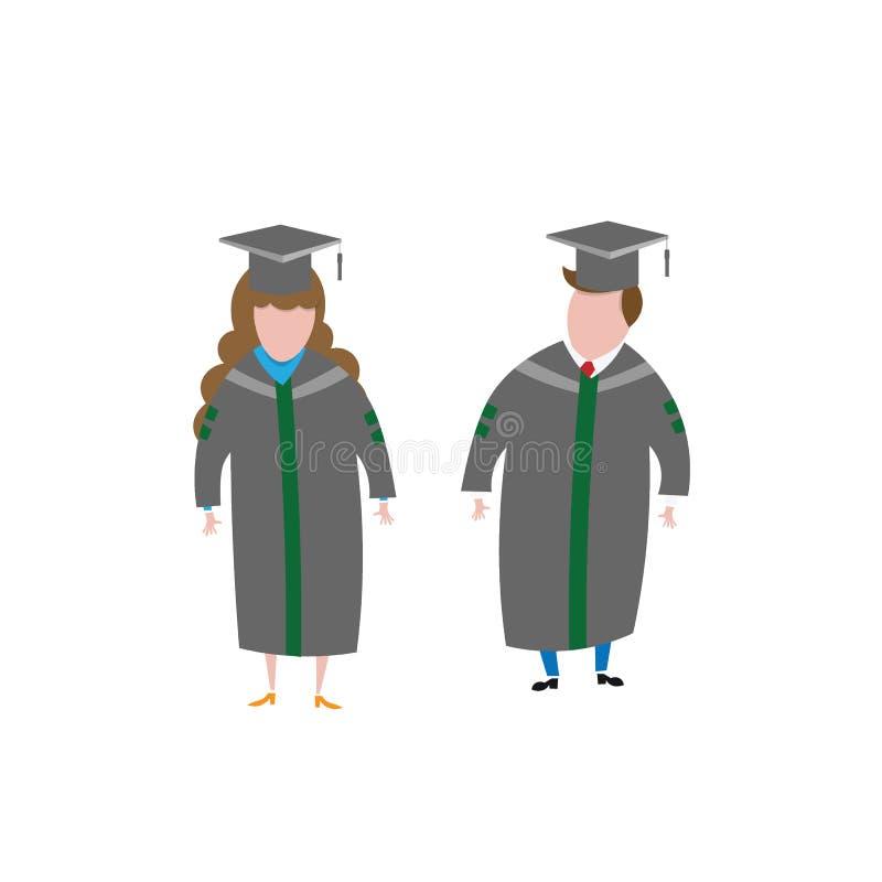 Les gens équipent et l'obtention du diplôme de femme illustration libre de droits