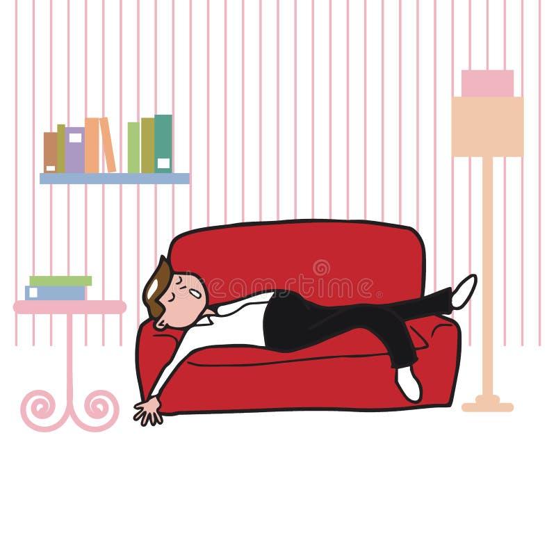 Les gens équipent le sommeil sur le sofa dans le salon illustration libre de droits