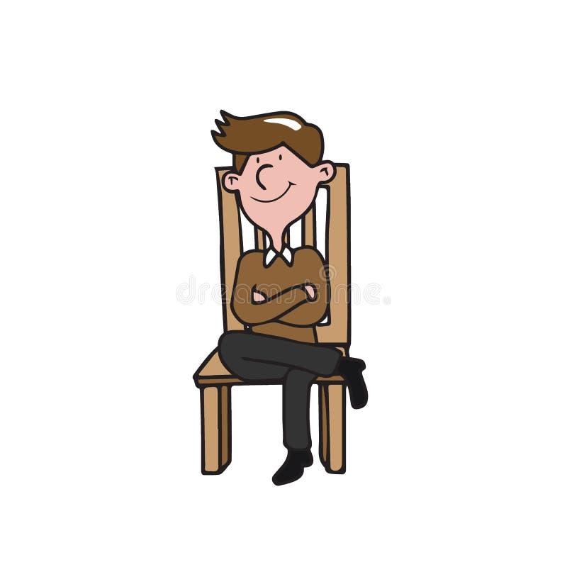 Les gens équipent se reposer sur la chaise illustration de vecteur