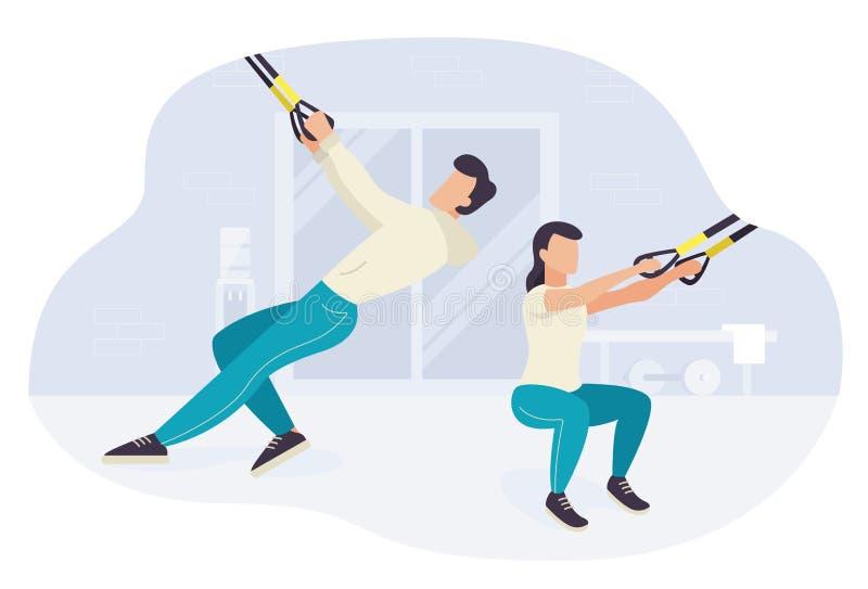 Les gens ?tablissant sur l'exercice de formation de forme physique de trx illustration stock