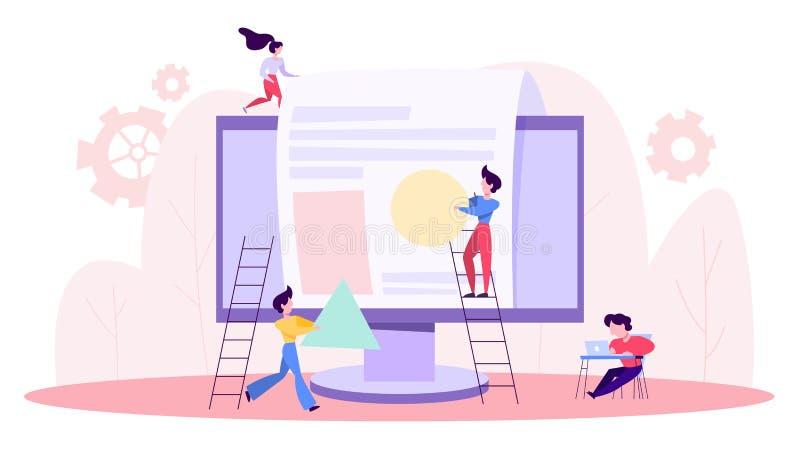 Les gens établissent le site Web Processus de d?veloppement de page Web illustration de vecteur