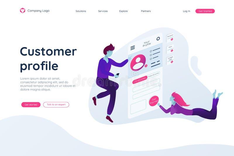 Les gens établissent un profil de la clientèle dans une mouche mobile d'application en air illustration stock