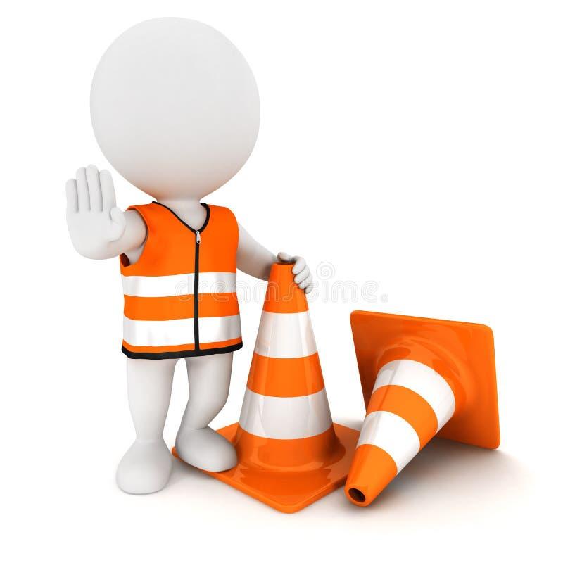 les gens 3d blancs arrêtent le signe avec des cônes de circulation illustration libre de droits